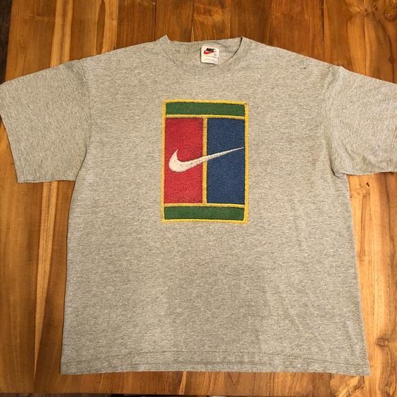 de5b12f1 Nike Shirts | Grey Vintage Court Mens T Shirt L Tennis 90s | Poshmark